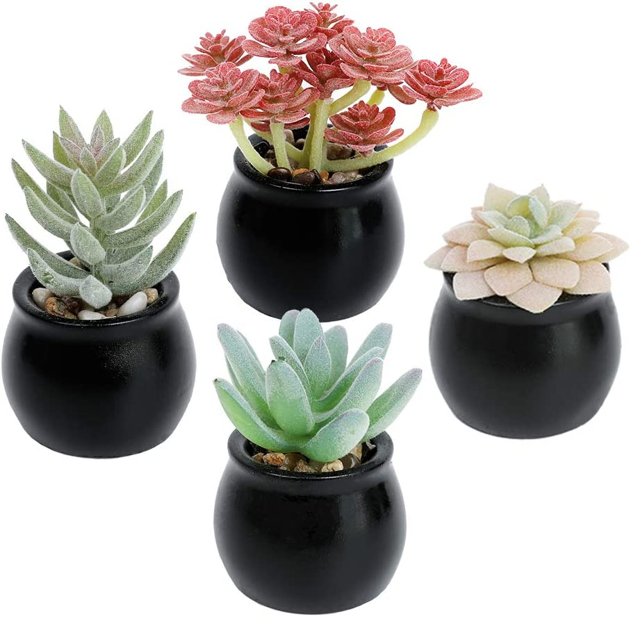 Luyue In stock 4 Gorgeous Pack Potted Fake Artificial Succul Decoration Succulents