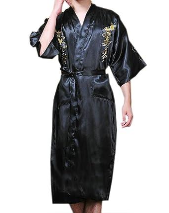 JTC Men Dragon Floral Satin Kimono Gown Bathrobe Sleeping Wear ...
