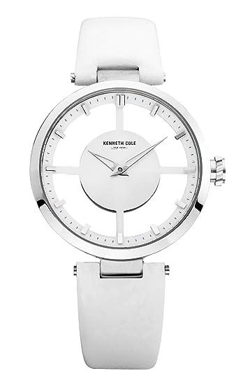 Kenneth Cole TRANSPARENCY - Reloj analógico de mujer de cuarzo con correa de piel blanca -