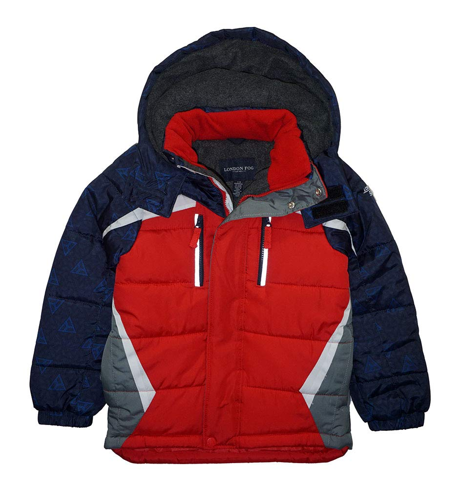 London Fog Boys' Active Puffer Jacket Winter Coat (7, Red Solid Hood) by London Fog