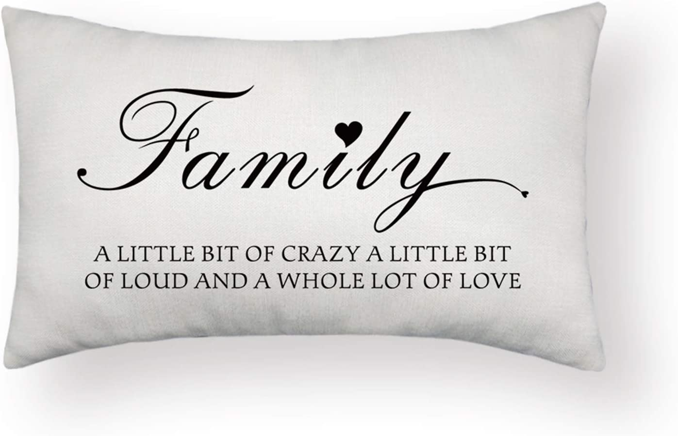 HOMANGA Farmhouse Pillow Covers, Family a Little Bit of Crazy Quotes Throw Pillow Covers, 12 x 20 Inch Decorative Lumbar Throw Pillow Cases, Rectangle Pillow Case for Family Home Decor