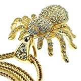 """Huge Spider Iced-Out Pendant Charm Gold Finish 36"""" Franco Hip Hop Chain Necklace"""