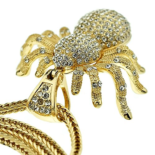 Huge Spider Iced Pendant Charm Gold Finish 36