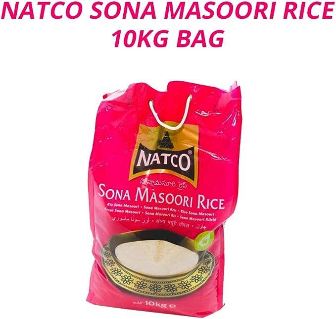 Natco Arroz Sona Masoori   Platos y Curris   Arroz Blanco   Sona Masuri de Primera Calidad del Sur de la India   Proteínas y Carbohidratos   Bolsa de ...