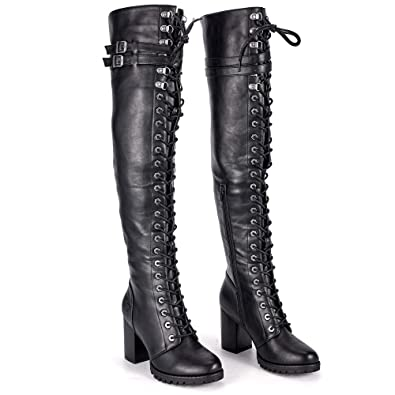 abec2ad5dee Milwaukee Riders Motorcycle Boots, Ladies Knee High Laced Boots Women  Harley Boots