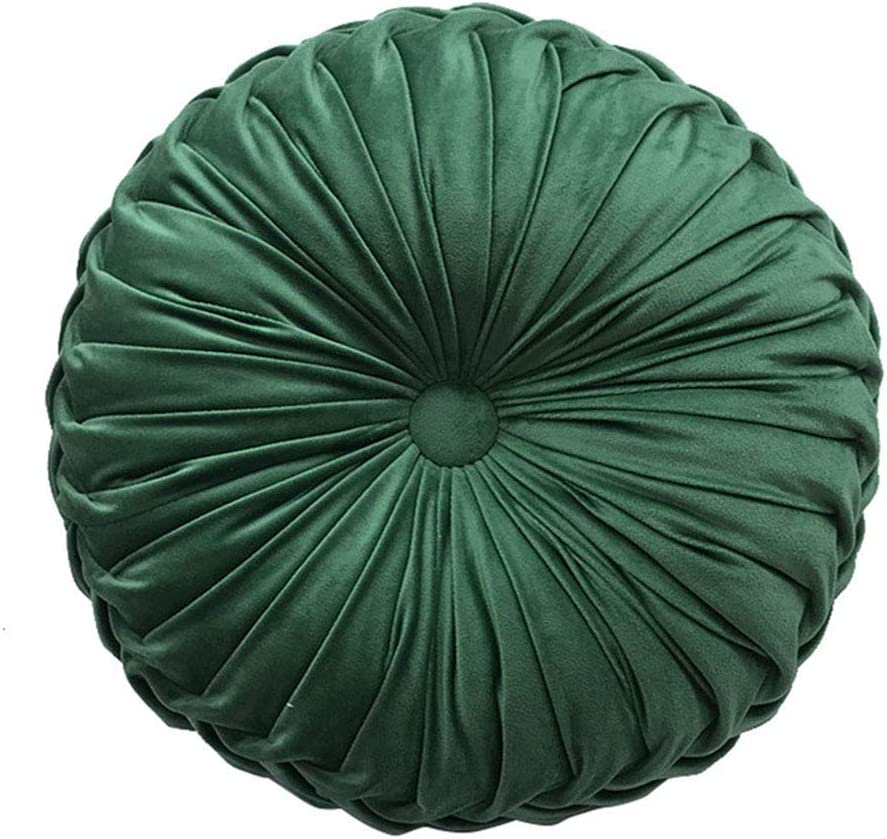 Elero Round Throw Pillow Velvet Home Decoration Pleated Round Pillow Cushion for Couch Chair Bed Car Emerald Green