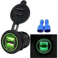 myonly impermeable Dual Puerto USB Cargador Socket Power Outlet 2.1A & visualización digital de 2,1A con Luz LED azul para coche barco Motorcycle Marino Mobile, Verde