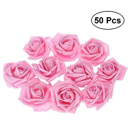 3c0aa02b7ba2 Amazon.com  Tinksky 50pcs Artificial Floral Foam Roses Flowers for Home  Wedding Arrangement Bouquet Decoration (Pink)  Home   Kitchen