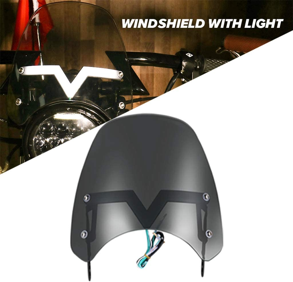HONGPA 5-7 inch Windshield Windscreen for Motorcycle With LED Light Fit 5-7 Motorcycle Lights and Harley Headlights
