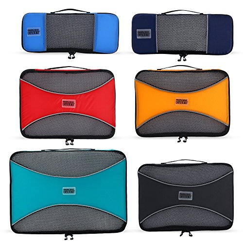 Pro Packing Cubes 6 Piece Lightweight Travel Cube Set of Compression Organizers ()