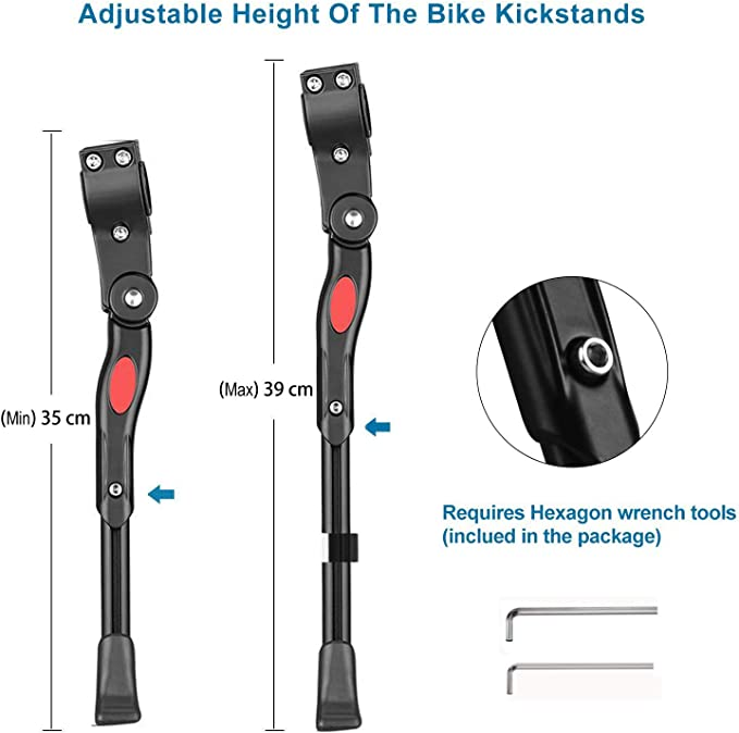 for Bike with Wheel Diameter 24-27 inch HHOOMY Bike Kickstand Aluminum Alloy Adjustable Bicycle Side Kickstand for Bike with Concealed Spring-Loaded Latch