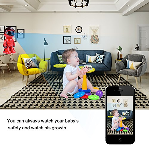 Wireless Ip Camera 1080P Robot 2.0MP Security Camera Night Vision Alarm Audio Baby Monitor Pan Tilt Remote Home Security P2P IR Night Vision for Mobile Android/IOS and Laptop (Red) by Tianbudz (Image #2)