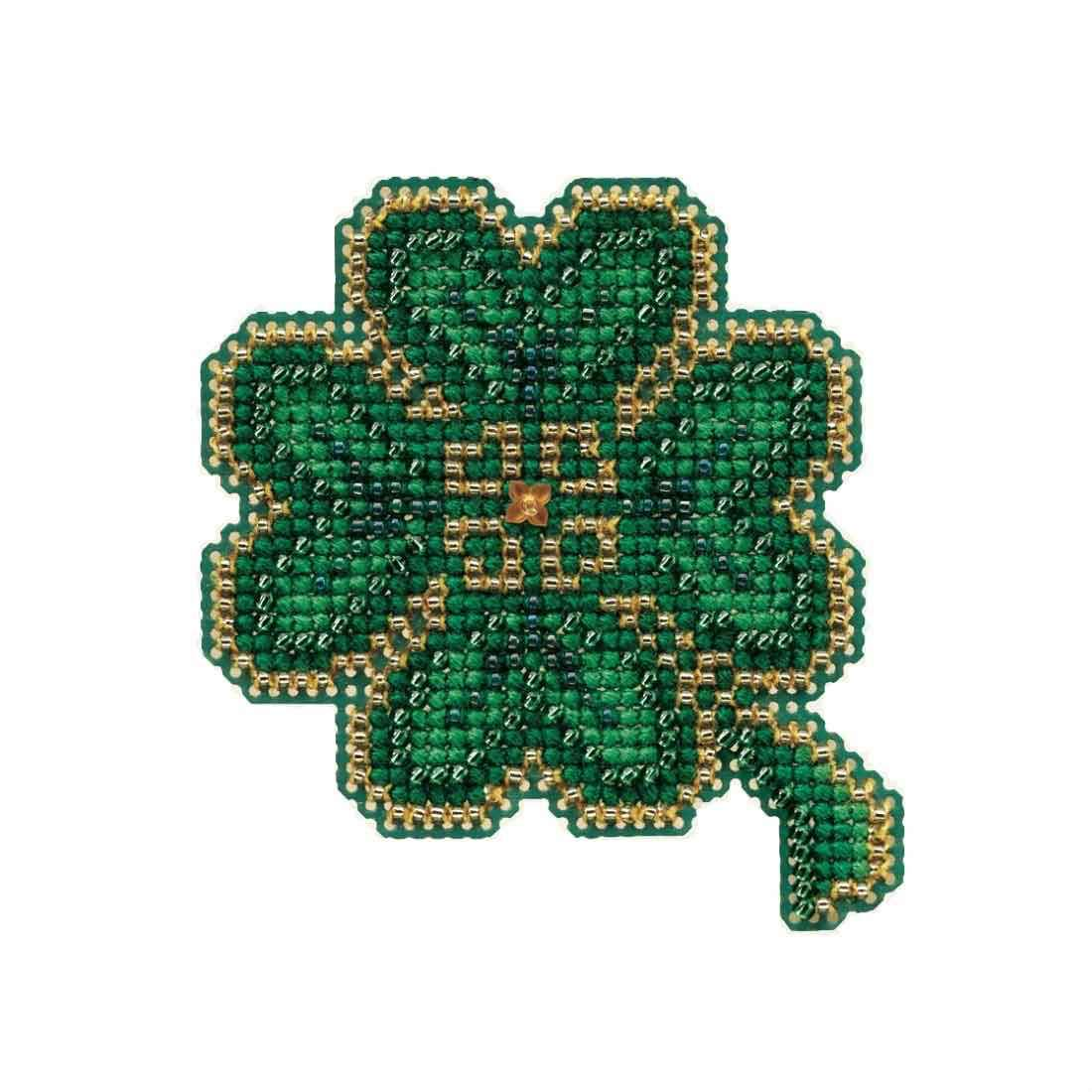 Lucky Day Beaded Counted Cross Stitch Ornament Kit Mill Hill 2010 Spring Bouquet MH18-0102 Wichelt MH180102