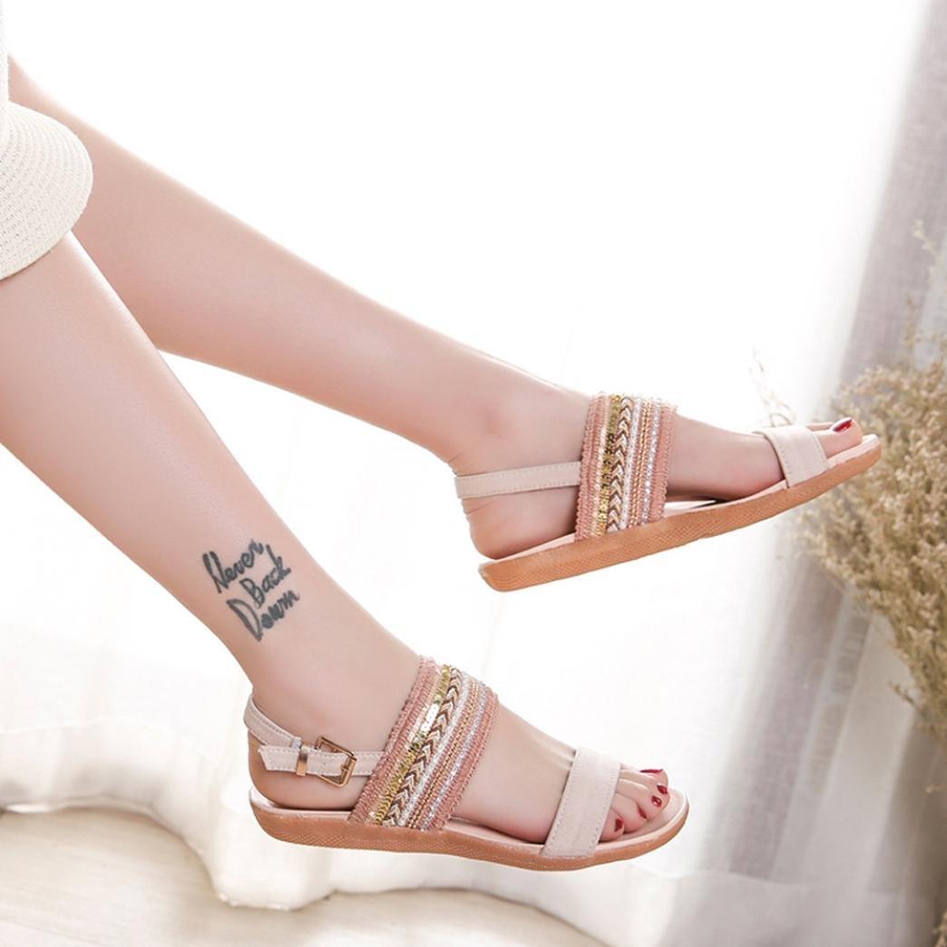 Inkach Women Flat Sandals Bohemian Summer Sandals Ankle Wrap Flip-Flops Shoes Beach Slippers