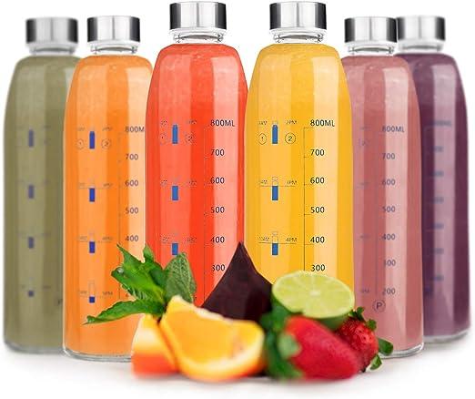 Botellas de Agua de Cristal - Set de 6 Botellas Reutilizables de ...