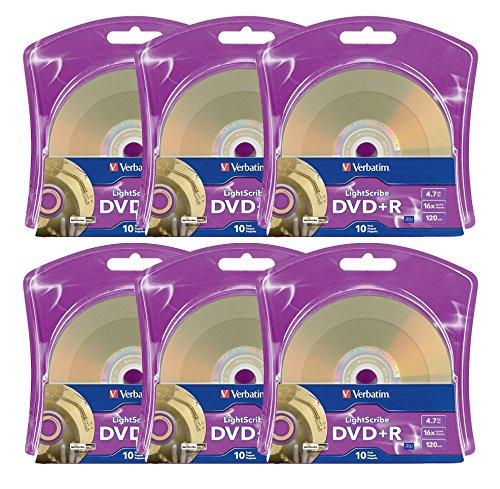 Verbatim 16x DVD+R LightScribe Blank Media, 4.7GB/120min - 60 Pack (6 x 10 Packs) by Produplicator