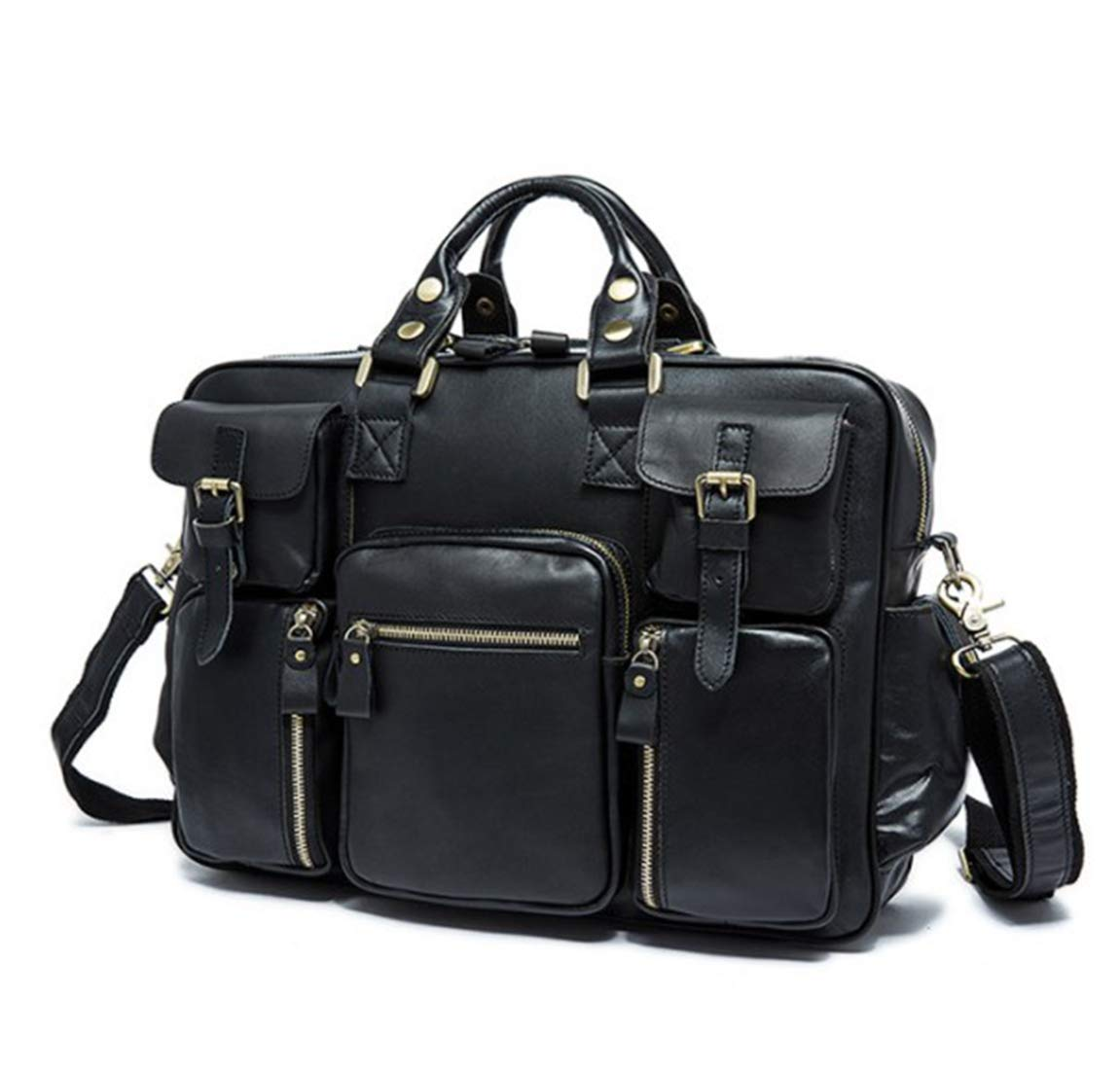 MATCHANT Leather Large-Capacity Portable Travel Bag Mens Multi-Purpose Travel Duffel Bag Color : Black