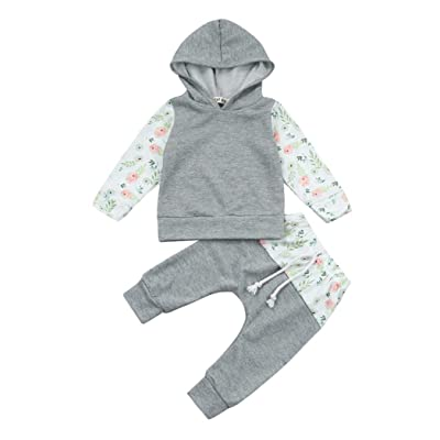 2pc Set Baby Boys Girls Floral Hoodie Tops+Long Pants Outfit Fall Winter Clothes