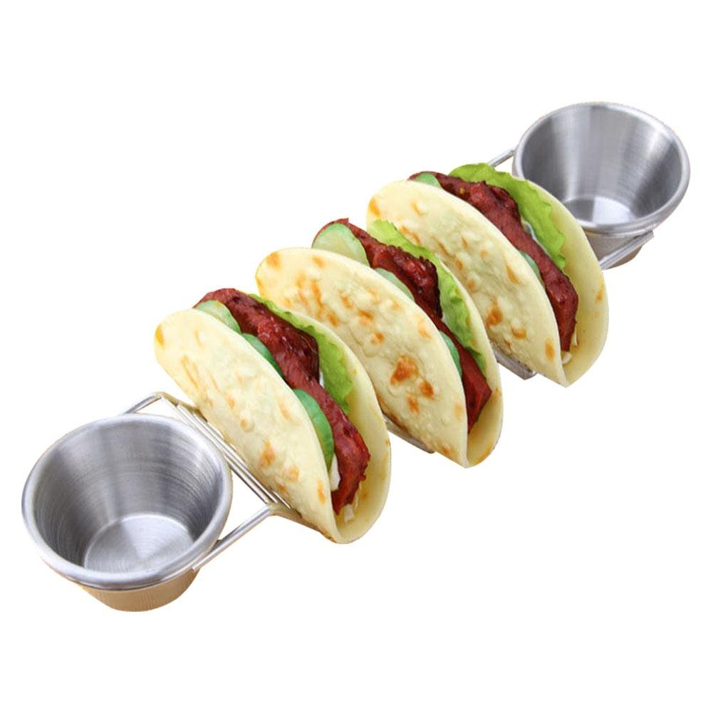 Pretty-jin Taco Holder Pancake Rack New Style Stainless Steel Mexican Taco Holder Food Stand with Salsa Cups Stainless Steel Food Rack Shelf
