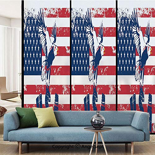 - AngelSept Window Films,Grunge Looking American National Flag with Eagle and USA Artistic Print,W15.7xL63in,Privacy Decorative Glass Film,Navy White Red
