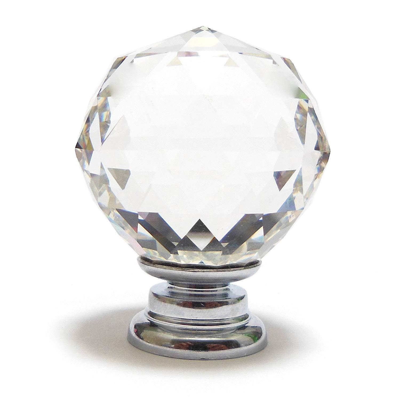 40mm IN Di/ámetro 100/% K9 Cristal A/ñade Brillo a Muebles Un Par de Mediano Transparente Cristal Facetado Pomo Armario con Cromo Base Traje Grosor Puerta hasta 21mm m/ás Tornillos Disponible