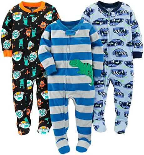 Simple Joys by Carter's Boys' 3-Pack Flame Resistant Fleece Footed Pajamas