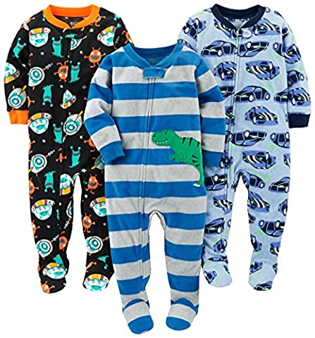 Simple Joys by Carter's Baby Boys' 3-Pack Flame Resistant Fleece Footed Pajamas, Racer Cars/Space/Dino, 18 - Baby Boy Pajamas