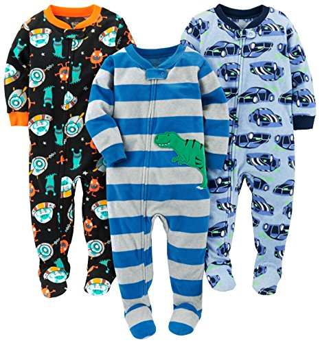 Simple Joys by Carter's Baby Boys' Toddler 3-Pack Flame Resistant Fleece Footed Pajamas, Racer Cars/Space/Dino, 3T ()