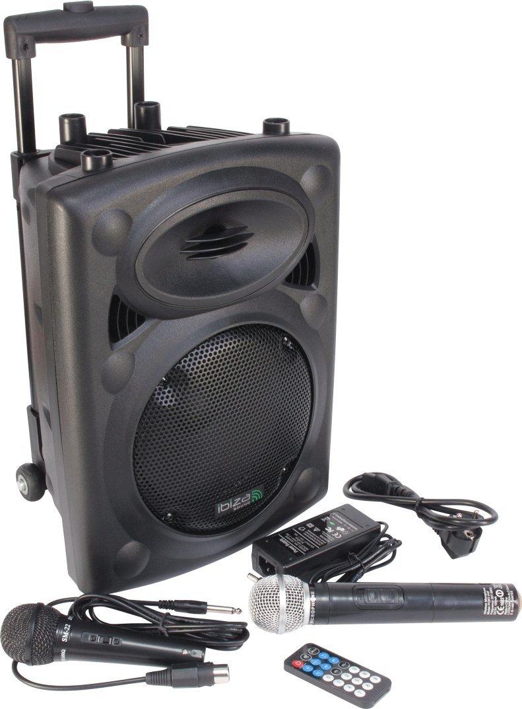 Ibiza Port8VHF-N DJ PA Karaoke Anlage mobile PA-Box Lautsprecherbox (Akku-Betrieb, Trolley, Mp3-fähige USB-SD-Slots, 400W, Fernbedienung, 2x Mikrofon) schwarz Mp3-fähige USB-SD-Slots Lotronic PORT8VHF-BT BT