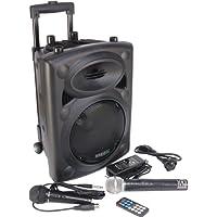 Ibiza Port 8 VHF - Enceinte sono portable - Haut parleur avec micro sans fil et micro fil et lecteur MP3 (USB SD, chassis ABS, batterie longue durée)