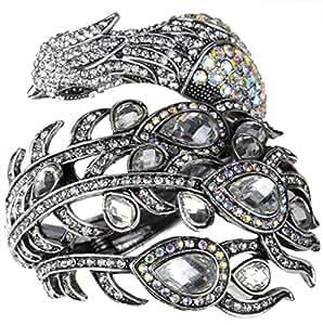 Christineen Jewellery Women's Crystal Big Peacock Bangle Bracelet