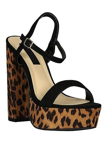 78347a7234b Alrisco Women Open Toe Ankle Strap Leopard Platform Chunky Heels Sandal  RC93 - Black Tan