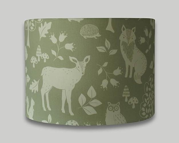 Green woodland animals stag deer fox owl drum lampshade 20cm 25cm green woodland animals stag deer fox owl drum lampshade 20cm 25cm 30cm 35cm 40cm lamp shade mozeypictures Gallery