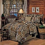 Realtree All Purpose Camouflage 8 Pc King Comforter Set & Matching Shower Curtain (Comforter, 1 Flat Sheet, 1 Fitted Sheet, 2 Pillow Cases, 2 Shams, 1 Bedskirt, 1 Shower Curtain) SAVE BIG ON BUNDLING!