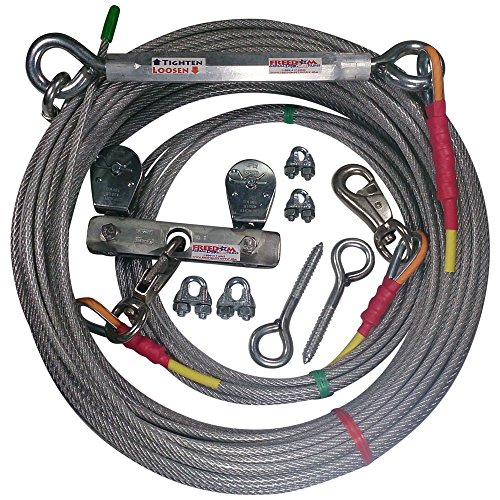 - Freedom Aerial Dog Runs Super Heavy Duty (Lead Line Length 15 FT, Aerial Cable 100 FT)