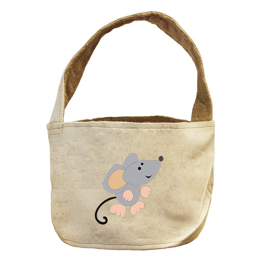 Style in Print Mouse Looking Up Animals Canvas and Burlap Storage Basket