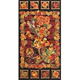 "Timeless Treasures Fall Leaves Fabric, Autumn Leaf Panel ~ 22"" PANEL ~ # HARVEST-CM3211 ~ Golden Harvest by Timeless Treasures Quilt Fabric ~ 100% Cotton 45"" Wide ~ Corn, Gourds & Pumpkins on Fabric"