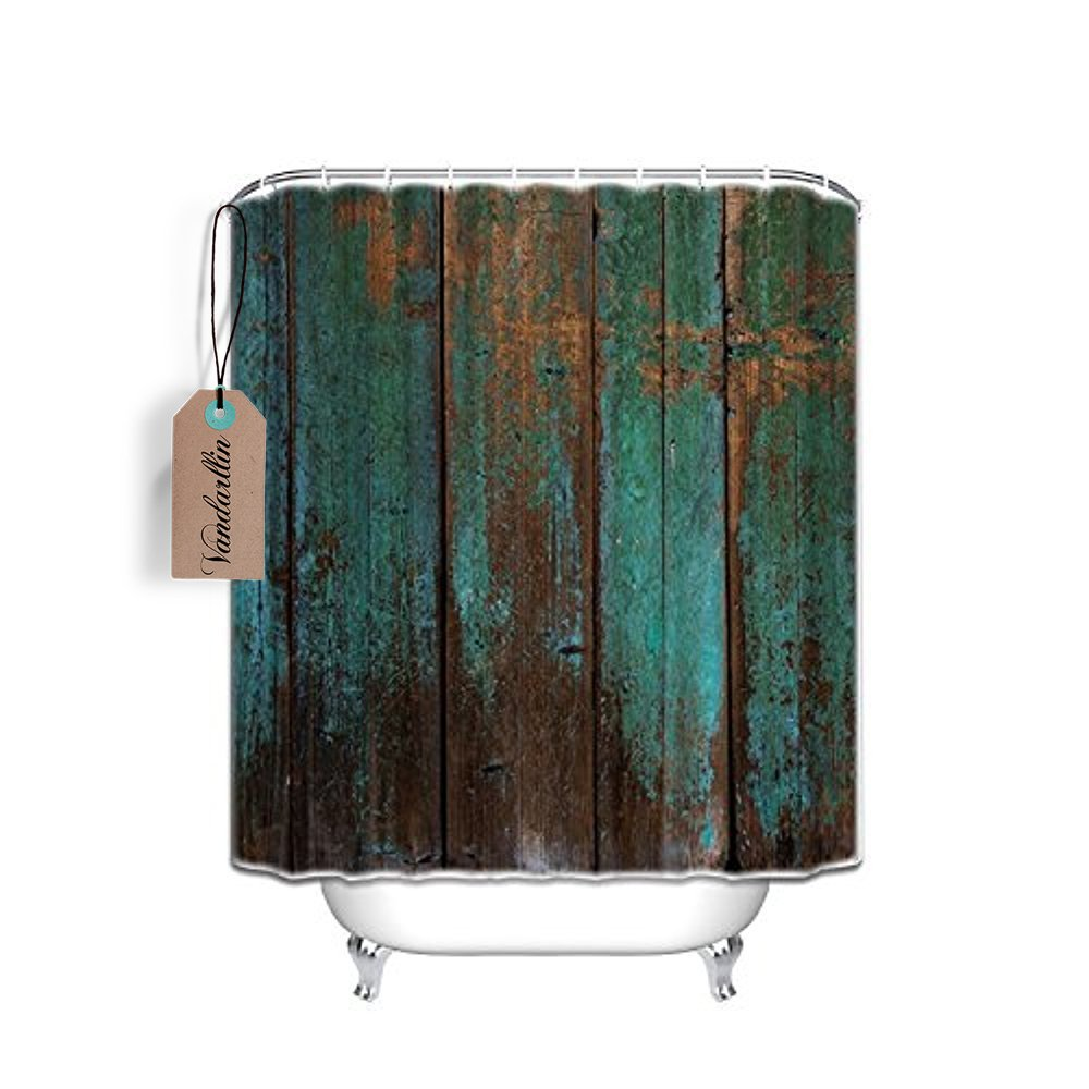 Vandarllin Country Rustic Distressed Teal Green Barn Wood FA Waterproof Shower Curtain,48 Wide X72 Long Inches