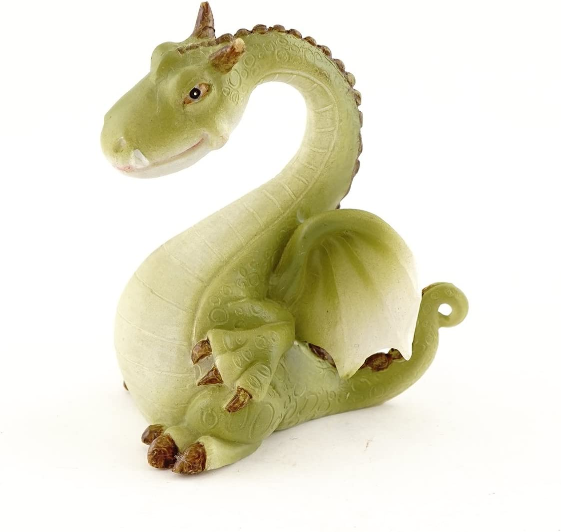 Top Collection Miniature Fairy Garden and Terrarium Green Dragon Figurine