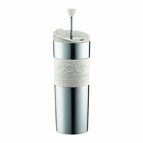 28f79a7feb2 Bodum Travel Press, Stainless Steel Travel Coffee and Tea Press, 15 Ounce,  .45 Liter, White