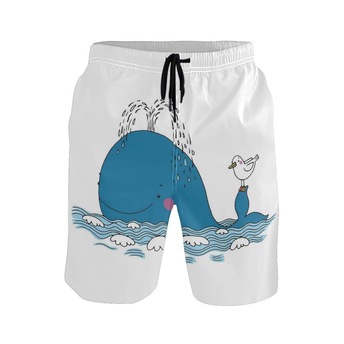 COVASA Mens Summer ShortsSea Mammal Caricature Swimming The Ocean and Splashin