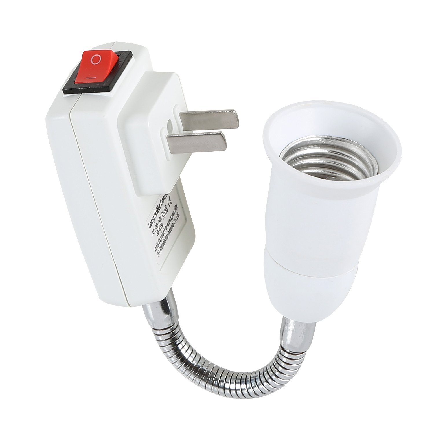 Electop E27 Socket Adapter with On/Off Switch to US Plug, Flexible Extension Lamp Bulb Holder Converter