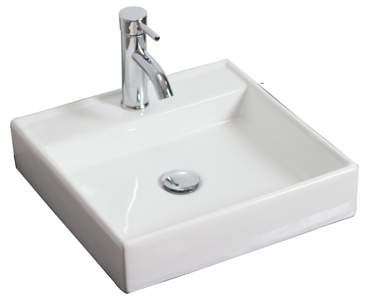 American Imaginations AI-2-1119 Wall Mount Square Vessel for Single Hole Faucet, 17.5-Inch x 17.5-Inch, White