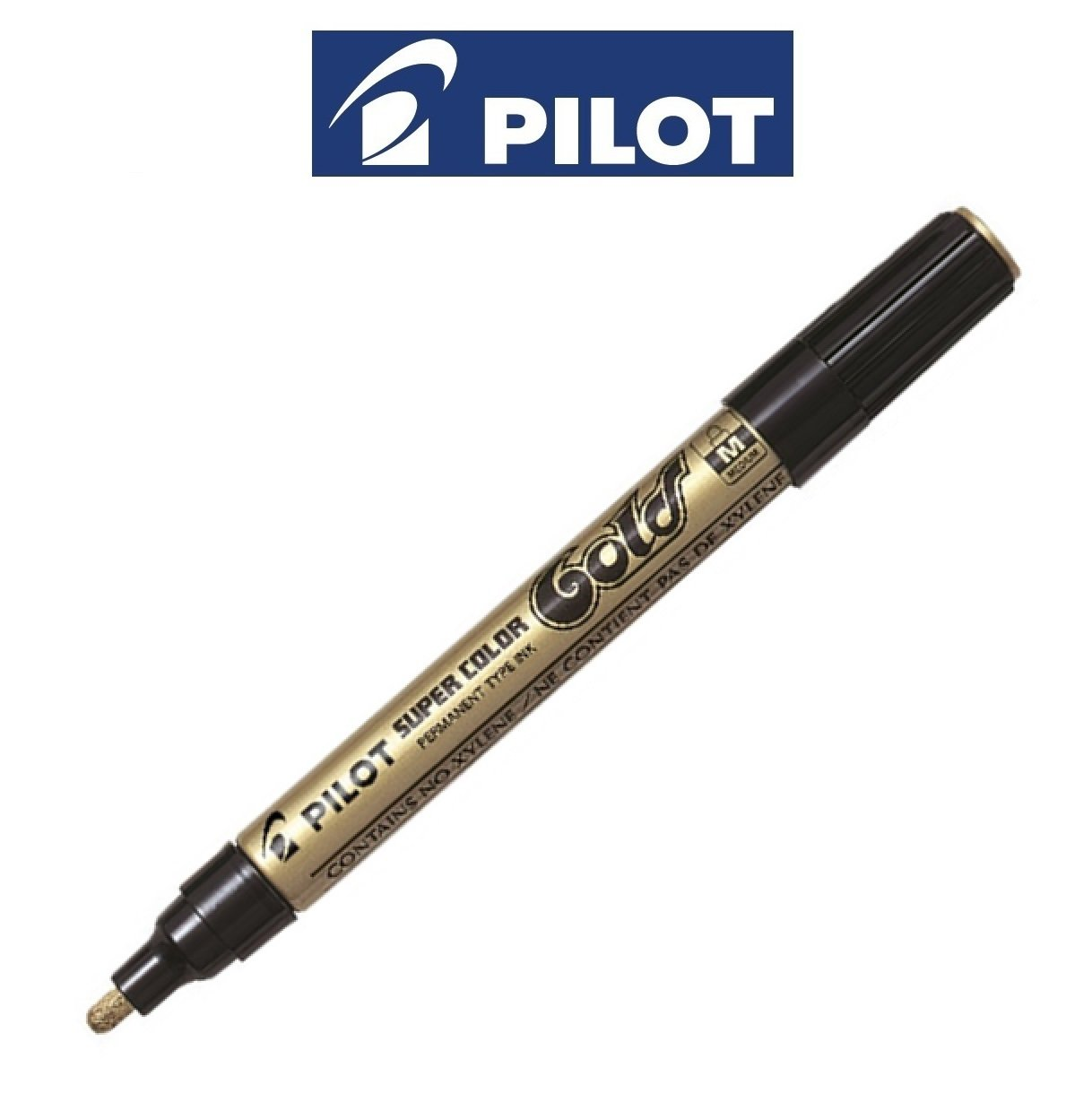 Pilot Metallic Super Colour Gold Medium (2mm Line) Permanent Marker Paint Pens (1 Pen)