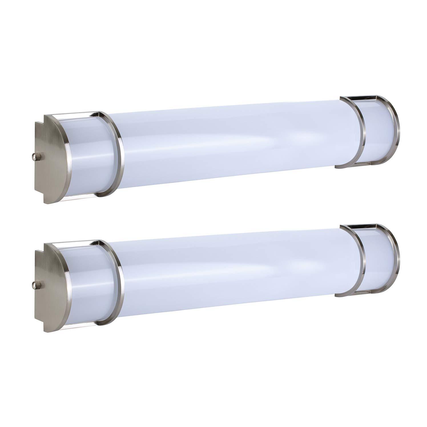 OSTWIN 24 Inch Dimmable LED Linear Bath Vanity Light Bar, Modern Bathroom Vanity Light Fixture 25W 5000K Daylight, Vertical or Horizontal Tube, Brushed Nickel Finish(2 Pack) ETL&Energy Star Listed