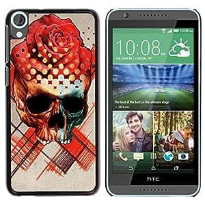 YiPhone /// Prima de resorte delgada de la cubierta del caso de Shell Armor - Rose Skull Death Ink Tattoo Red Rose - HTC Desire 820