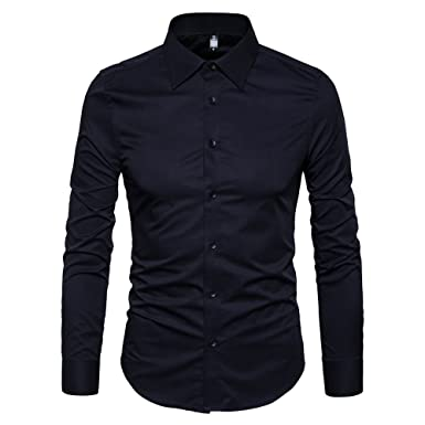 2be7c1637c8 Manwan walk Men s Slim Fit Business Casual Cotton Long Sleeves Solid Button  Down Dress Shirts (