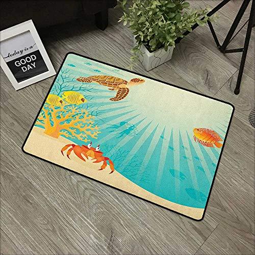 Restaurant mat W35 x L47 INCH Marine,Tropical Fishes Crab Loggerhead Sea Turtle Oceanic Sun Reflecting Beach Cartoon, Multicolor with Non-Slip Backing Door Mat Carpet ()