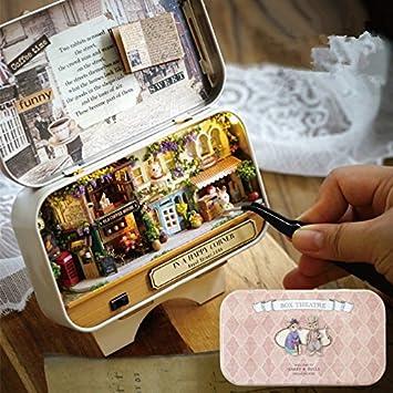 UChic DIY Hütte Box Theater Mini Wald Puppenhaus 3D Miniatur Von Hand  Montiert Haus Modell Spielzeug