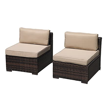 Incredible Patiorama Armless Chair Outdoor Patio Loveseat Brown Rattan Wicker Sofa Chair Additional Seats 7 Piece Set Ocoug Best Dining Table And Chair Ideas Images Ocougorg
